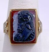 Vintage Mens 10k Two-tone Double Knight Carved Cameo And Onyx Ring Size 10