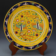 16.5 Porcelain Chinese Antique Xuande Yellow Famille Rose Phoenix Lotus Plates