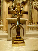 Large Heavy Brass Church Altar Standing Cross W Ihs High Quality 30