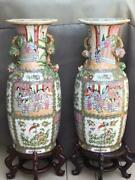 Pair Canton Famille Rose Porcelain 24 Baluster Vases Chinese Mint Condition