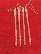 """4 Glass Icicles 6.5"""" Christmas Tree Ornaments Clear Winter Holiday Frozen L"""