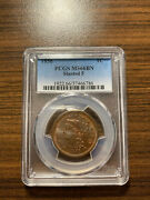 1856-p Slanted 5 Braided Hair Large Cent 1c Pcgs Ms 66 Brown Bn Slanted Five