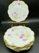 5 Old Abbey Limoges Freres Mark 3 1908-1913 Saucer Gold Raised Purple Peach Rose