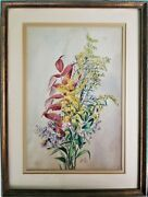 Antique Signed Watercolor Painting Still Life Flowers Cross Framed Dated 1879
