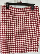Talbots Wool Blend Houndstoooth Pencil Skirt Lined Red Ivory Sz 8 M 501b
