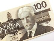1988 Canada 100 Dollar Uncirculated Ajx Replacement Banknote Thiessen Crow R241
