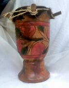 Wooden Carved Hand Painted Primitive Drum W Fur And Rope Play Or Decor 14 X 9 Sale