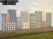 O Scale Commercial Combo Set Of 12 Building Flats/ Front 3d Background