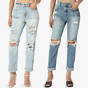Themogan Distressed Destructed Washed Denim High Rise Relaxed Boyfriend Jeans