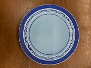 Vintage Pacific Pottery Dinner Plate 613 Blue With Cobalt White Maroon Pattern