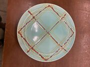 Vintage Pacific Pottery Dinner Plate 613 Blue W/ Orange Yellow Plaid Pattern Ca