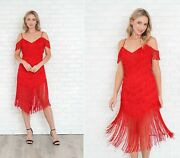 Vintage 80s Red Flapper Dress Fringe Deco Party Cocktail Small S