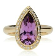 Pre-owned 18ct Rose Gold Amethyst And Diamond Cluster Ring