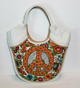 Isabella Fiore Saks Peace Sign Piper Embroidered Leather Hobo Handbag Nwt 695