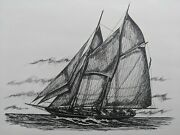 James E. Stilphen Pen And Ink Drawing Painting Sailboat Ship 1966 Bath Maine
