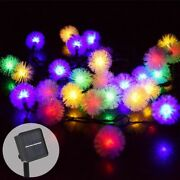 Led Beads Lights Christmas Multi-color Snow Ball Shapes Solar Panel Outdoor Lamp
