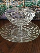 American Fostoria Low Sherbet Goblet And Saucer Glass Crystal Clear 3-1/4t Vintage