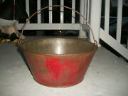 Antique Metal 5 1/2 Tall Bucket Pail With Original Red Paint And Bail Handle.