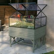 Cold-frame Greenhouse Kit In Driftwood Finish - Elevated Raised Bed Garden