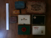 8 Vintage Cigar And Cigarette Tins Chesterfield Lucky Strike Climax Tennyson Sweet