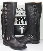 New 498 Frye Veronica Strap Tall Black/silver Leather Fringe Motorcycle Boots