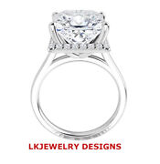 1.55 Ct Moissanite Square Forever One Halo Pave Engagement Plain Wedding Ring