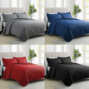 2/3pcs Bedspread Coverlet Set Embossed Bedding Quilt W/shams King Queen Size