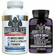 Angry Supplements Test Booster For Men - Monster Test 120 Tabs + Pm 60 Caps