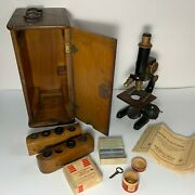 Vintage Baush And Lomb Microscope With Carry Case No 843 Serial Number 103577