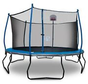 Round 14and039 Trampoline With Basketball Goal And Safety Enclosure Bounce Pro