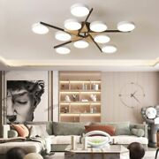 Round Led Iron Wood Chandelier Lighting Bedroom Dining Living Room Hanging Lamp