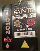Nfl New Orleans Saints Official Working Staff Field Pass 09/26/2010 Vs Falcons