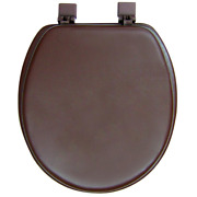 Ginsey Round Closed Front Bathroom Toilet Seat Brown Soft Cushioned Vinyl Padded