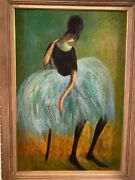 Resting Ballerina Dancer Antique Oil Painting French Female Expressionism Rare