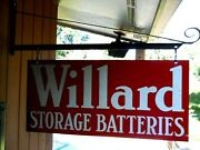 Old Willard Storage Batteries Double Sided Hanging Sign Bracket 28 By 13
