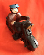 Vintage Repro 80's Cast Iron Motorcycle Toy Collectible, Old Motorcycle Cop Toy