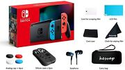 2020 Nintendo Switch W/ Neon Blue And Red Controllers W/ Headphones Bag Lcd Film