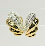 Vintage 14k Solid Gold 2 Ct. Natural Diamond Clip Back Earrings W/ Post