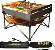 Pop-up Fire Pit - Portable Outdoor Fire Pit And Bbq Grill/ Portable Camping W/ Bag