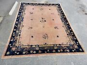 Large Antique Chinese Art Deco Wool Rug - 15'6 X 12'1