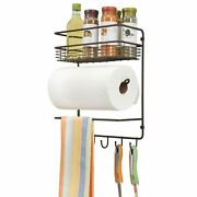 Mdesign Metal Wall Mount Paper Towel Holder With Storage Shelf And Hooks - Bronze