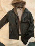 Doma Leather Jacket Black Zip Up Detachable Fabric Hood And Trimzipper Cuff Xs