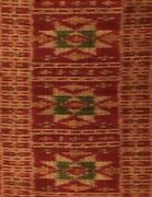 Antique Central Asian Silk Ikat Runner Shawl 19th Century Multi Color Red Green