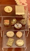 Rare Vintage Max Factor Solid Perfume And Powder Compact Collection-unique Shapes