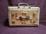Vintage Princess Charming By Atlas Wicker Purse Lucite Handles - Butterfly Shell