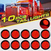 10x 4 Round Stop/turn/tail Brake Sealed Truck Trailer Led Lights Rubber Mount