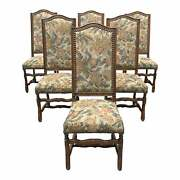 1900s Vintage French Louis Xiii Style Os De Mouton Dining Chairs - Set Of 6