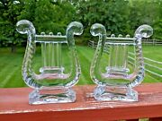 1950and039s Vintage Fostoria Glass Lute Lyre Harp Crystal Bookends Music Teacher Book