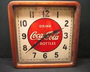 Vintage Coca-cola 1939 Electric Clock Sign With Wood Frame And Glass Face Cover