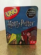 Mattel Uno Harry Potter Card Game In Tin Metal Box Special Rule Sealed Cards